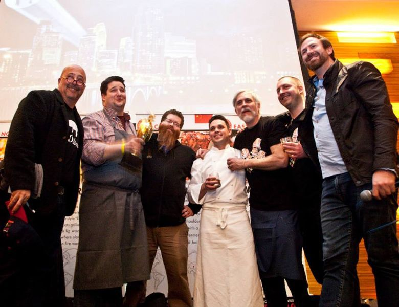 The winning moment at last year's Cochon. Photo by Zoe Francois