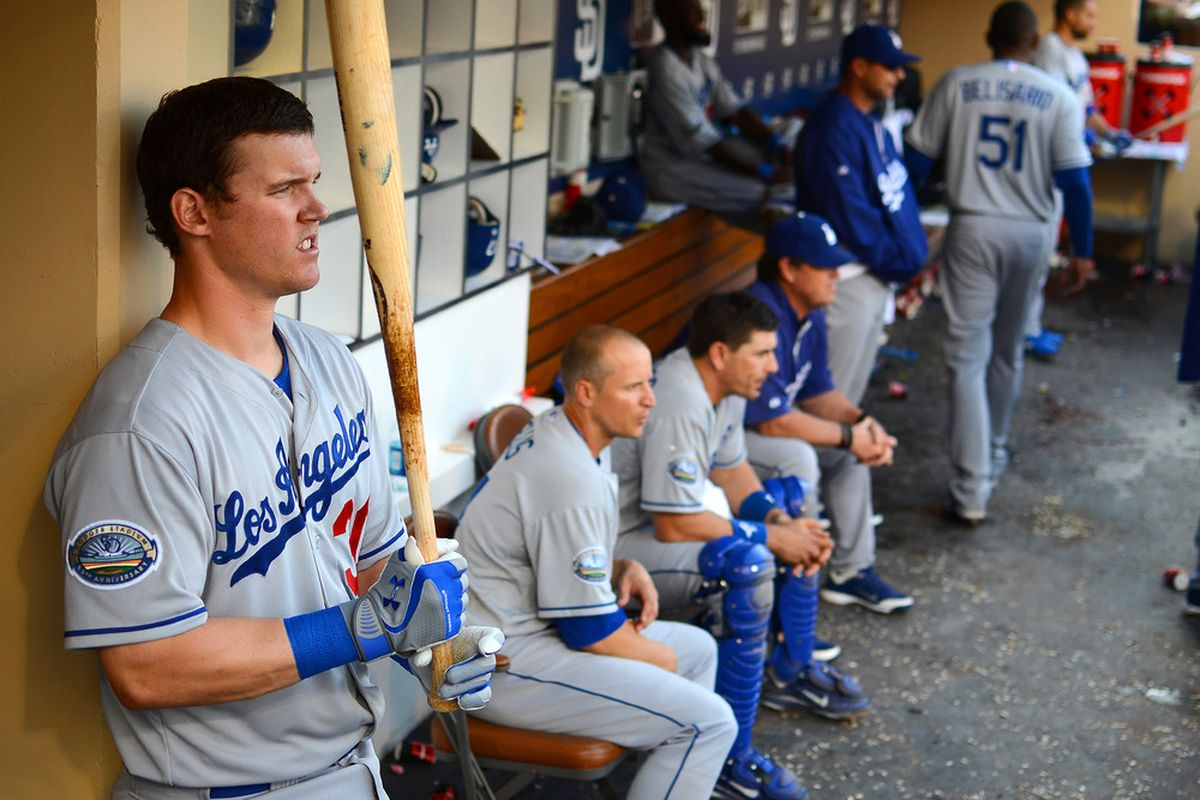 Jerry Sands looks to improve the Dodgers' putrid production at first base.