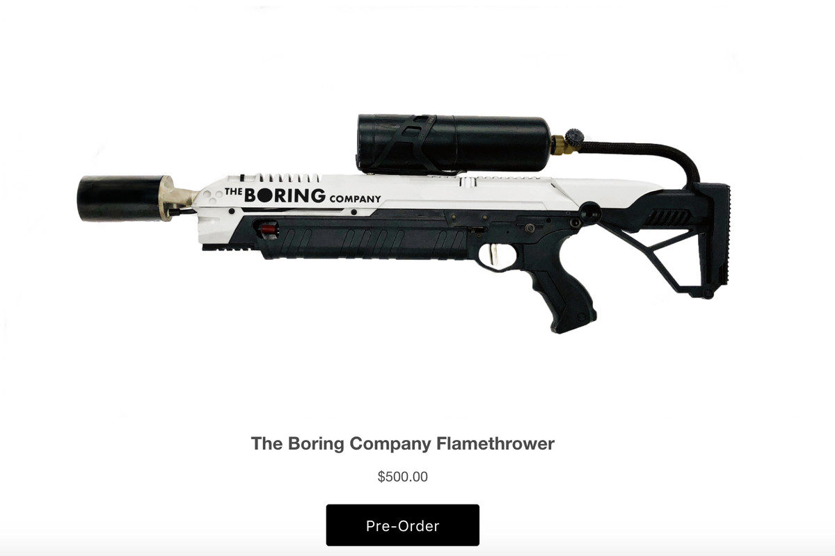 Here's Elon Musk's $500 Boring Company flamethrower - The Verge