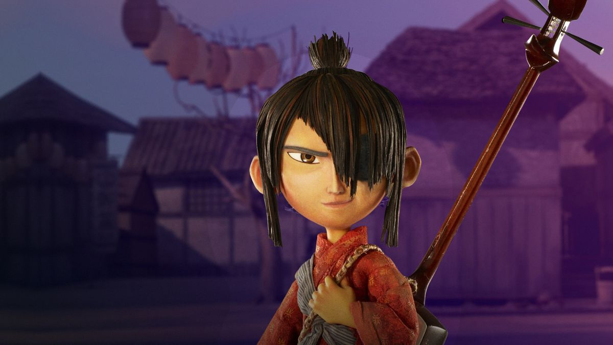 kubo stands in a red kimono and with his shamisan on his back