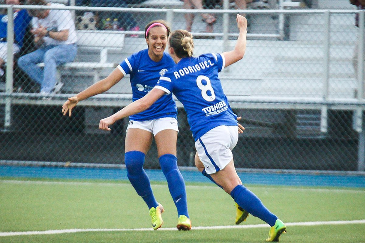 A-Rod celebrates her second goal of the match