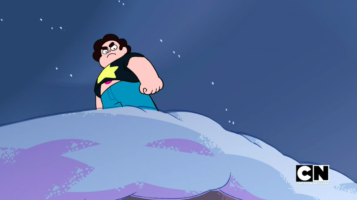 Stephen angrily stands in the snow on the top of the cliff where he lives with his Gem friends.