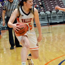 Valley's Janilyn Hoyt drives the ball against Milford Friday night during the 1A girls' semifinals in Richfield.