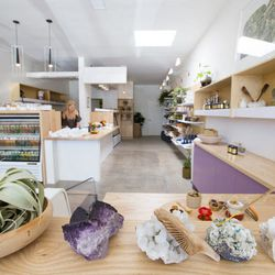 """Start your day with a cold-pressed concoction or nut milk potion at Eater <a href=""""http://la.eater.com/archives/2013/08/30/crystals_sex_milk_and_seaweed_moon_juice_energizes_silver_lake_on_saturday.php"""">go-to</a> Moon Juice (2839 W Sunset Blvd), which als"""