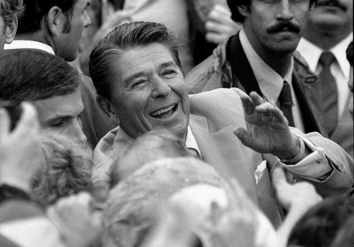 President Ronald Reagan visited Hooper, Utah on Sept. 10, 1982.