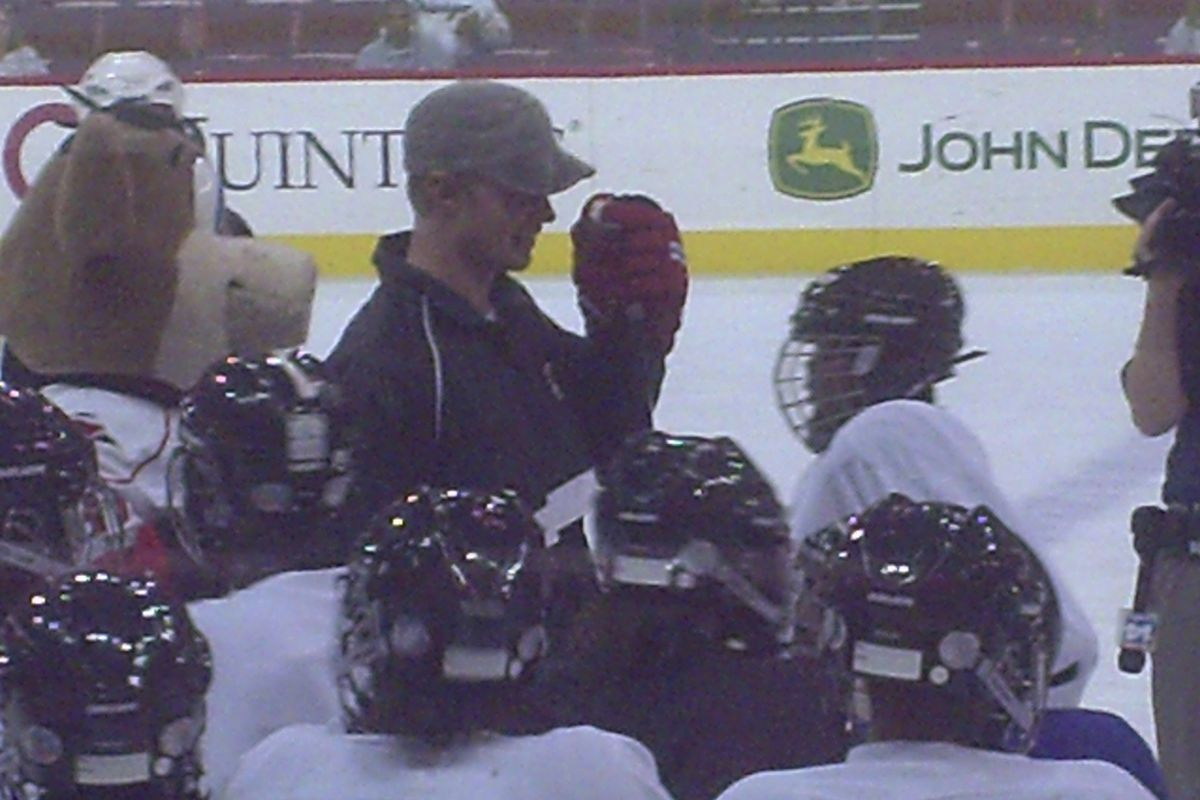 (Raleigh, NC.)    Eric Staal and the Capital City Crew at the RBC Center on October 27, 2009.
