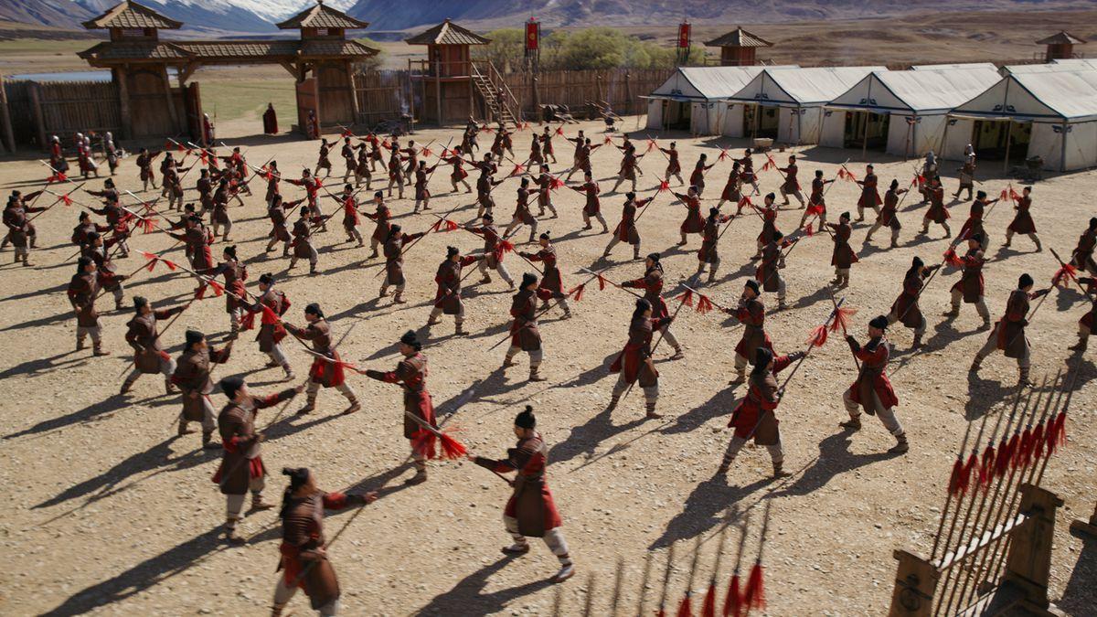 "Warriors begin to train in ""Mulan."""