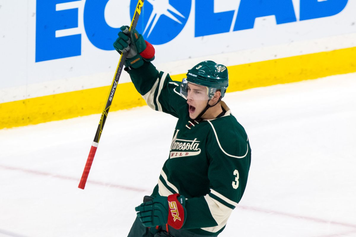 Couldn't find a pic of a Wild player doing sketch comedy, so this happy Coyle pic will have to do.
