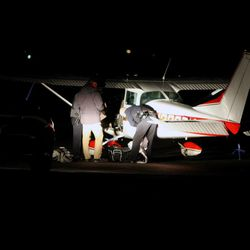 Uintah County authorities, acting on a tip from the U.S. Department of Homeland Security, searched a Cessna 182 Skylane after it landed Tuesday, Nov. 12, 2013, at the Vernal Regional Airport. A police K-9 alerted to the presence of drugs, according to investigators, and four duffel bags with nearly 200 pounds of marijuana were found inside the plane. Police arrested the pilot.