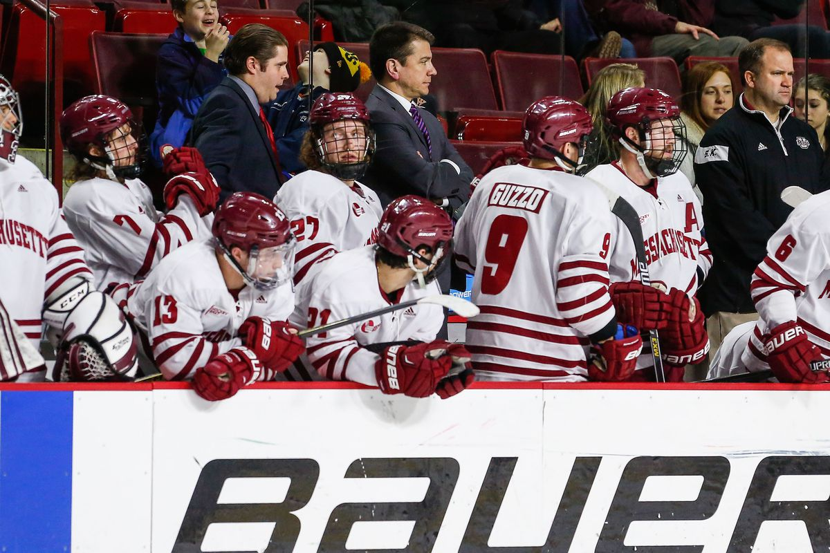 Head coach John Micheletto, pictured here on UMass bench in a game last season.