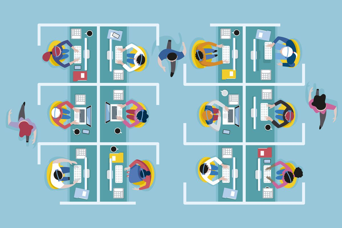 An illustration of a top view of people working in cubicles in an office.