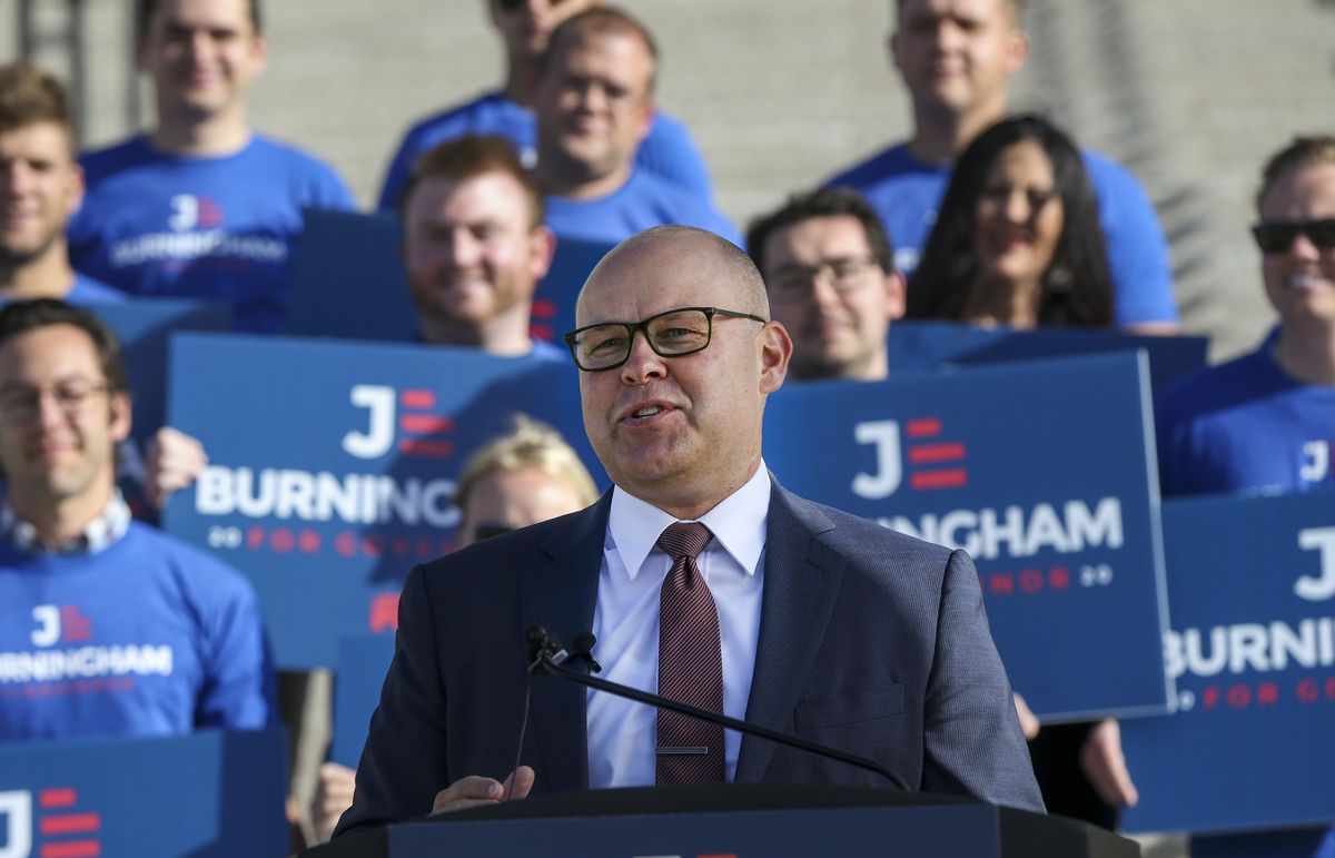 Republican Jeff Burningham announces his candidacy for Utah governor on the steps of the state Capitol in Salt Lake City on Tuesday, Sept. 10, 2019.