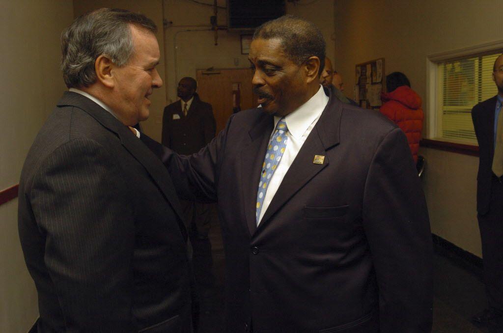 Robert Vaughn (right) with then-Mayor Richard M. Daley at Pilgrim Baptist Church in January 2007. | Brian Jackson / Sun-Times