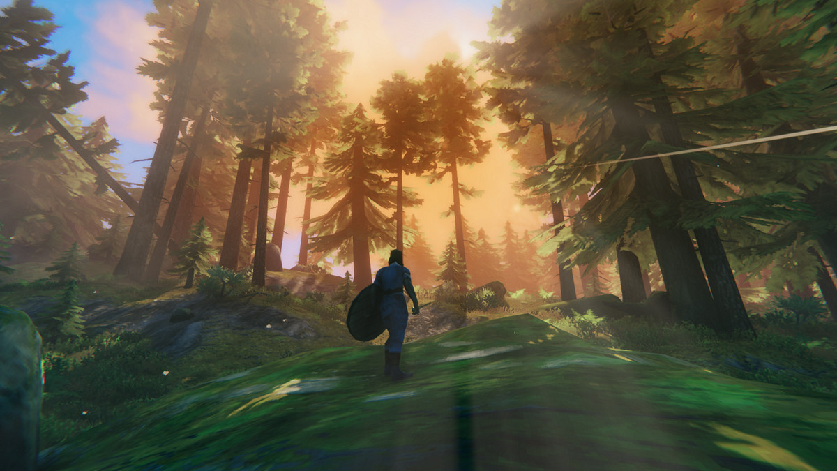 Valheim - a Viking stands in the Black Forest and sees the sun rise and filter through pine trees.