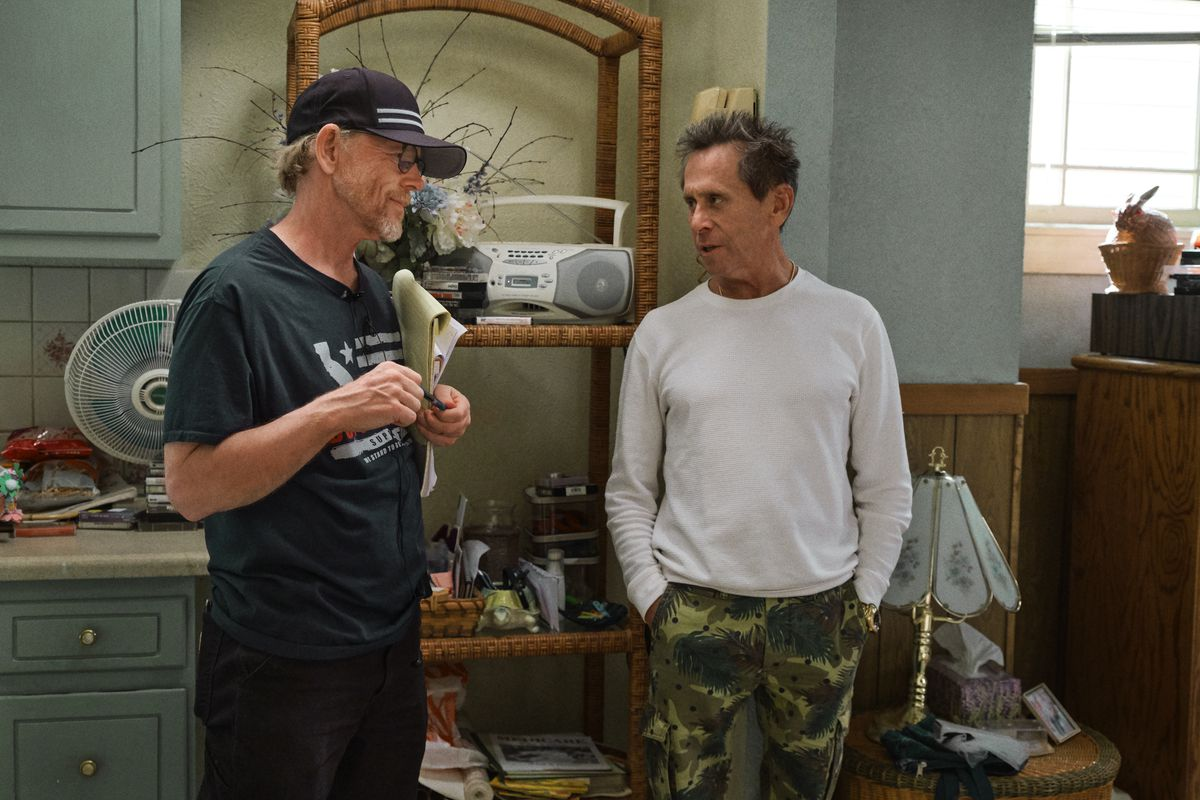 Ron Howard and producer Brian Grazer on the set of Hillbilly Elegy
