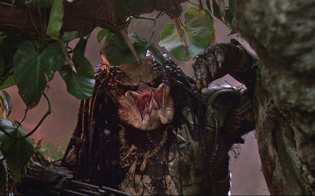 the predator chasing schwarzenegger in predator 1987