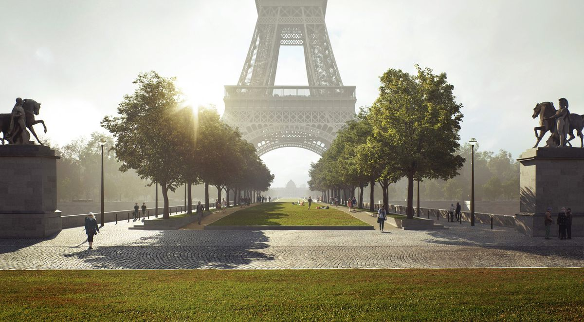 A lawn and trees in front of the Eiffel Tower, a landmark structure in Paris.