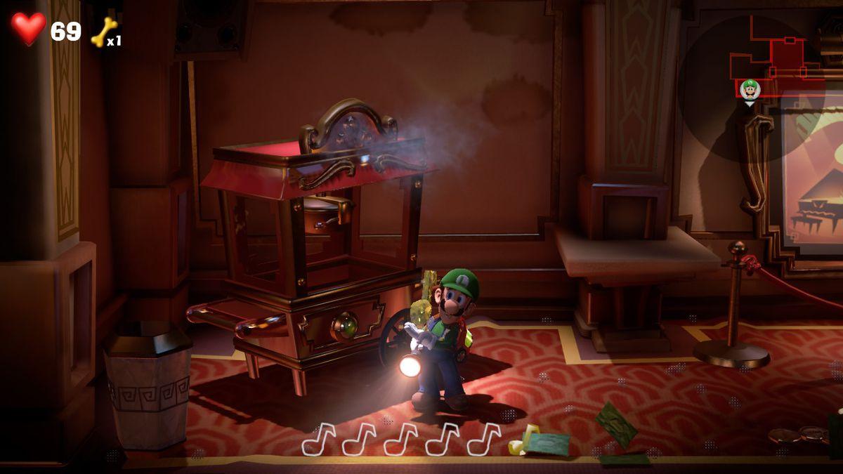 4F yellow gem in a popcorn machine in Luigi's Mansion 3's ELEVATOR HALL