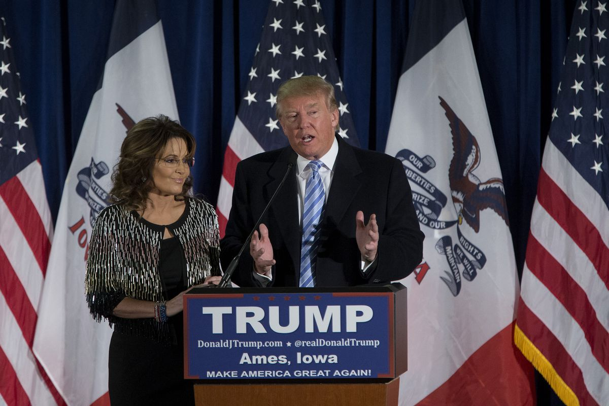 """Sarah Palin helps Trump reach out to the """"identity conservatives,"""" but not to National Review's """"philosophical conservatives."""""""