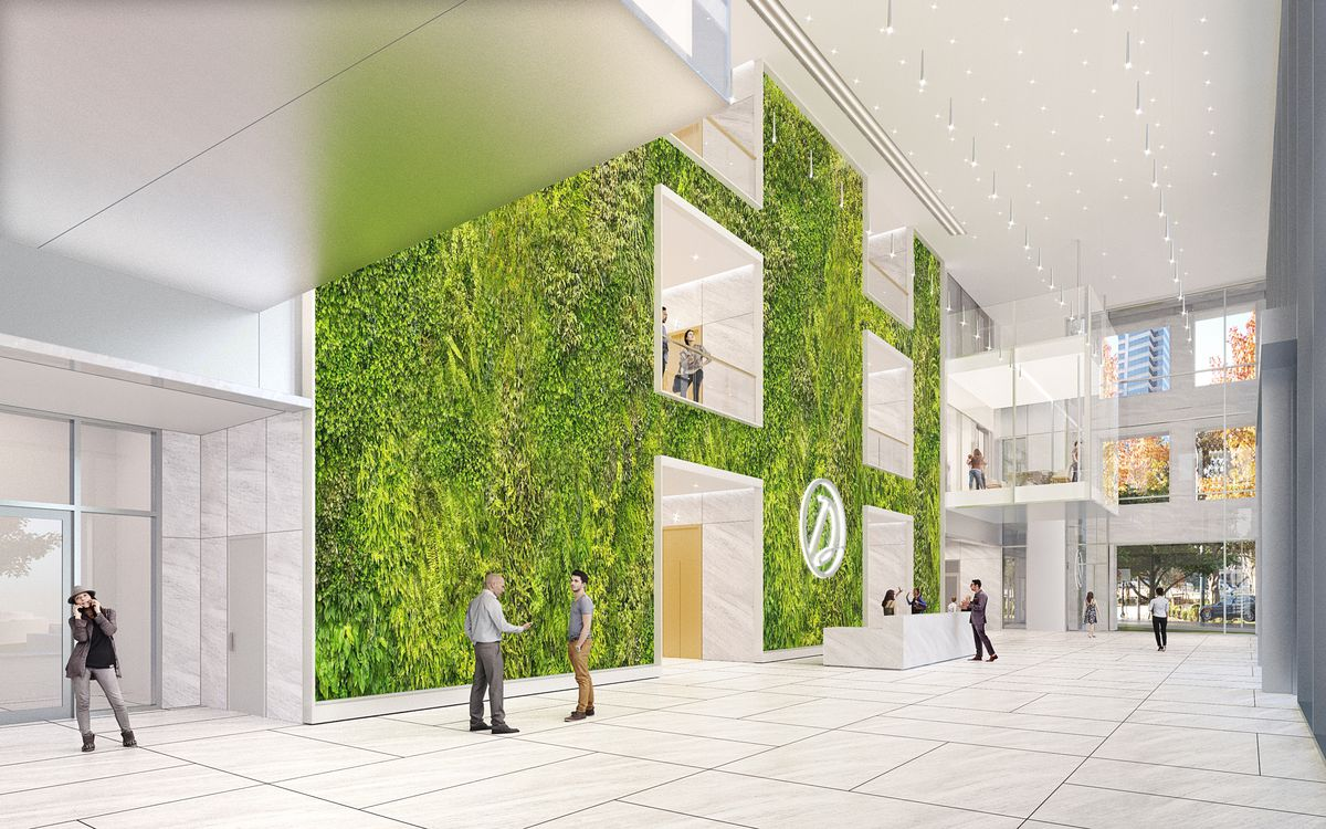 Another rendering of the lobby shows that the green wall stretches three stories up.