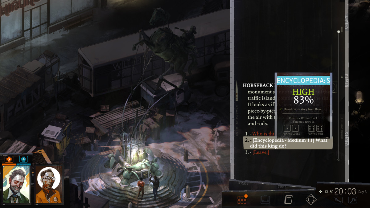 A screenshot showing off a White Check in Disco Elysium