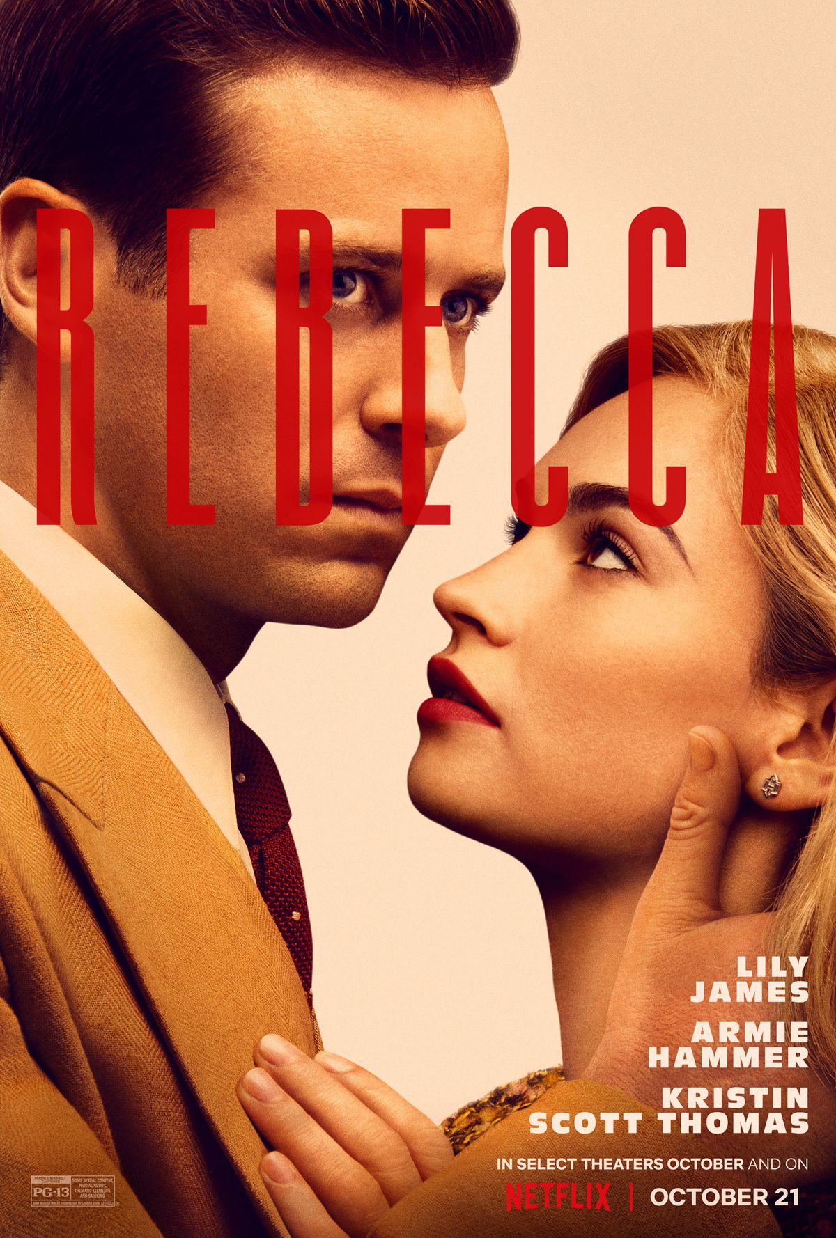 Armie Hammer and Lily James  in the poster for Rebecca