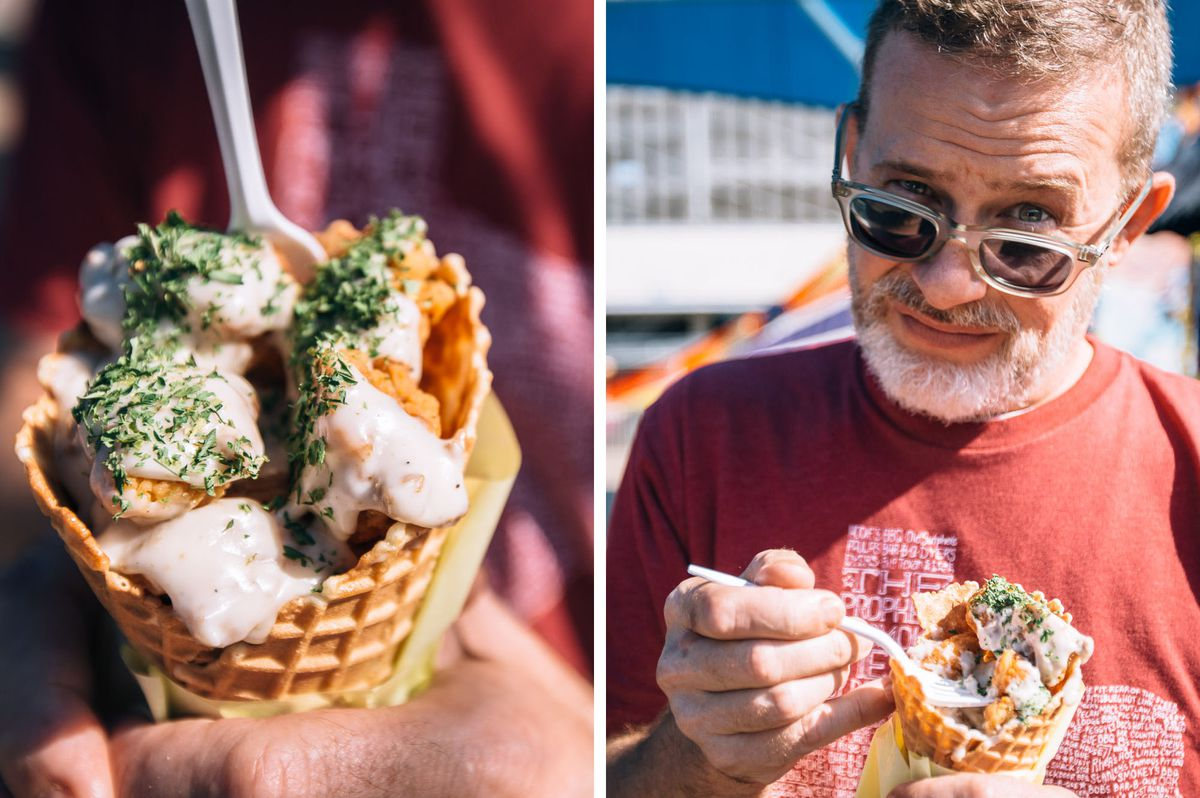 Texas Fried Chicken in a Waffle Cone