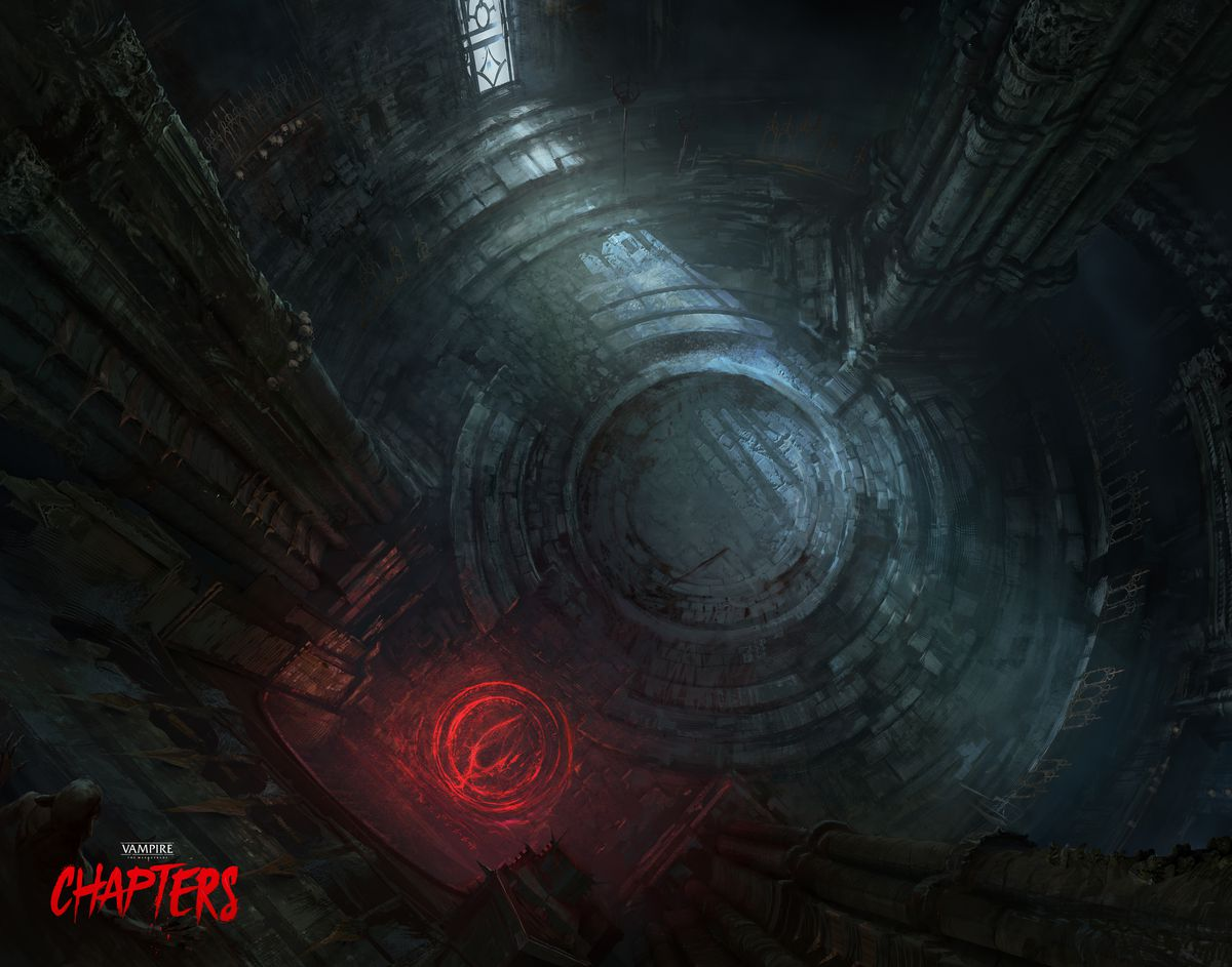 A glowing red sigil stands in the corner of an old, abandoned temple space. Light trickles in from a small window.