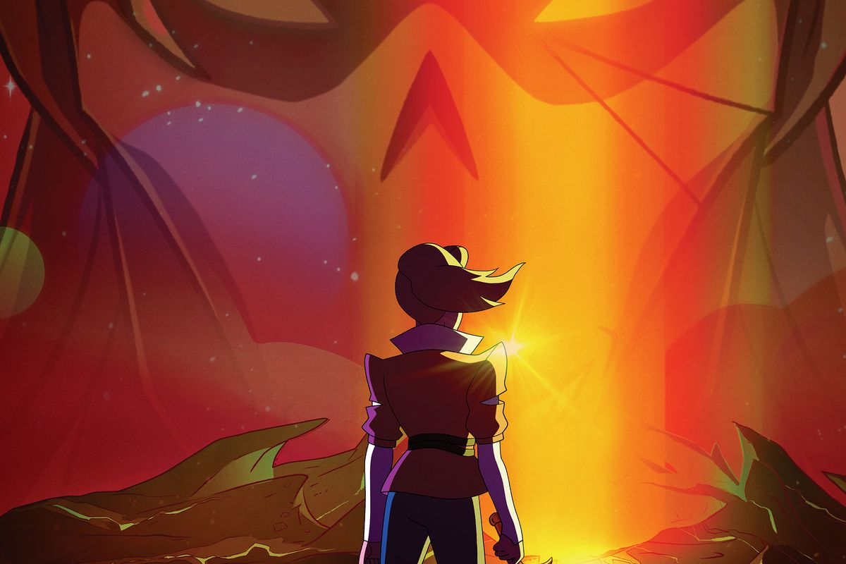 adora fearlessly standing with a shattered sword in hand, facing Horde Prime against a red background, the word WE MUST BE BRAVE written above