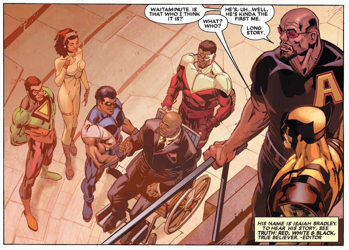 """Black superheroes (including Monica Rambeau and Sam Wilson/the Falcon) greet a wheelchair-using Isaiah Bradley as Luke Cage and Wolverine look on. """"IS that who I think it is?"""" Luke says. """"He's, uh... well, he's kinda the first me. Long story."""" in Black Panther #18, Marvel Comics (2006)."""
