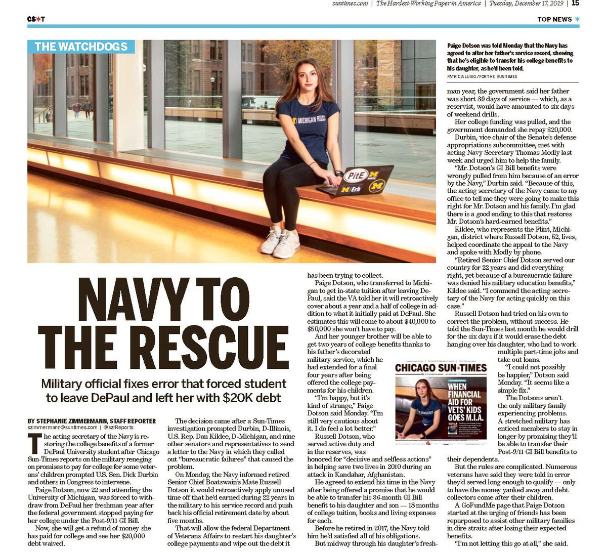 The Sun-Times' report Tuesday on the Navy fixing things for a former DePaul University student.