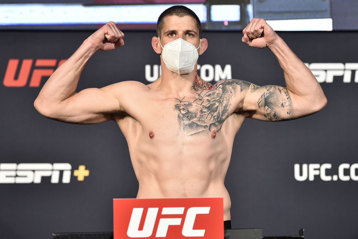 Marc-Andre Barriault of Canada poses on the scale during the UFC weigh-in at UFC APEX on June 19, 2020 in Las Vegas, Nevada.