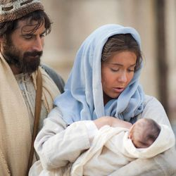 Joseph, Mary and baby Jesus in Jerusalem in the LDS Church's Bible Videos series.