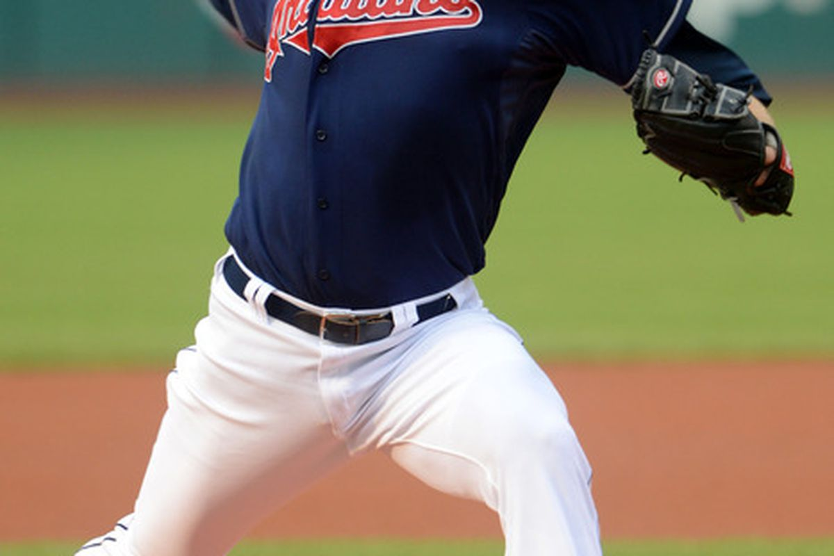 July 3, 2012; Cleveland, OH USA: Cleveland Indians starting pitcher Zach McAllister (34) throws a pitch during the first inning against the Los Angeles Angels in the game at Progressive Field.  Mandatory Credit: Eric P. Mull-USPRESSWIRE