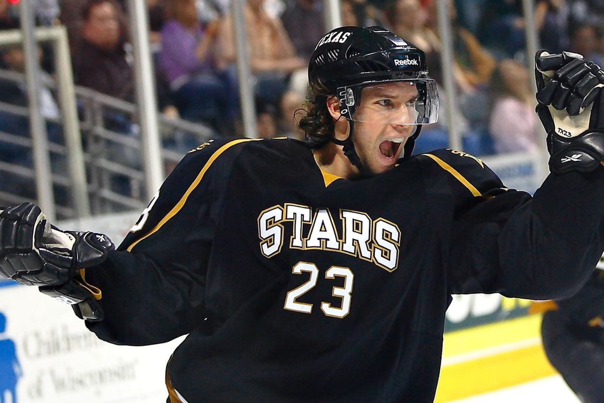 Travis Morin celebrates the game-winning goal in last year's final matchup against the Milwaukee Admirals. (Credit: Chris Jerina)