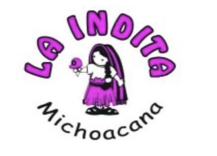 "A logo image with the words ""La Indita Michoacana"" above and below a girl depicted in black, white, and fuchsia, wearing a traditional Mexican outfit and holding an ice cream cone"