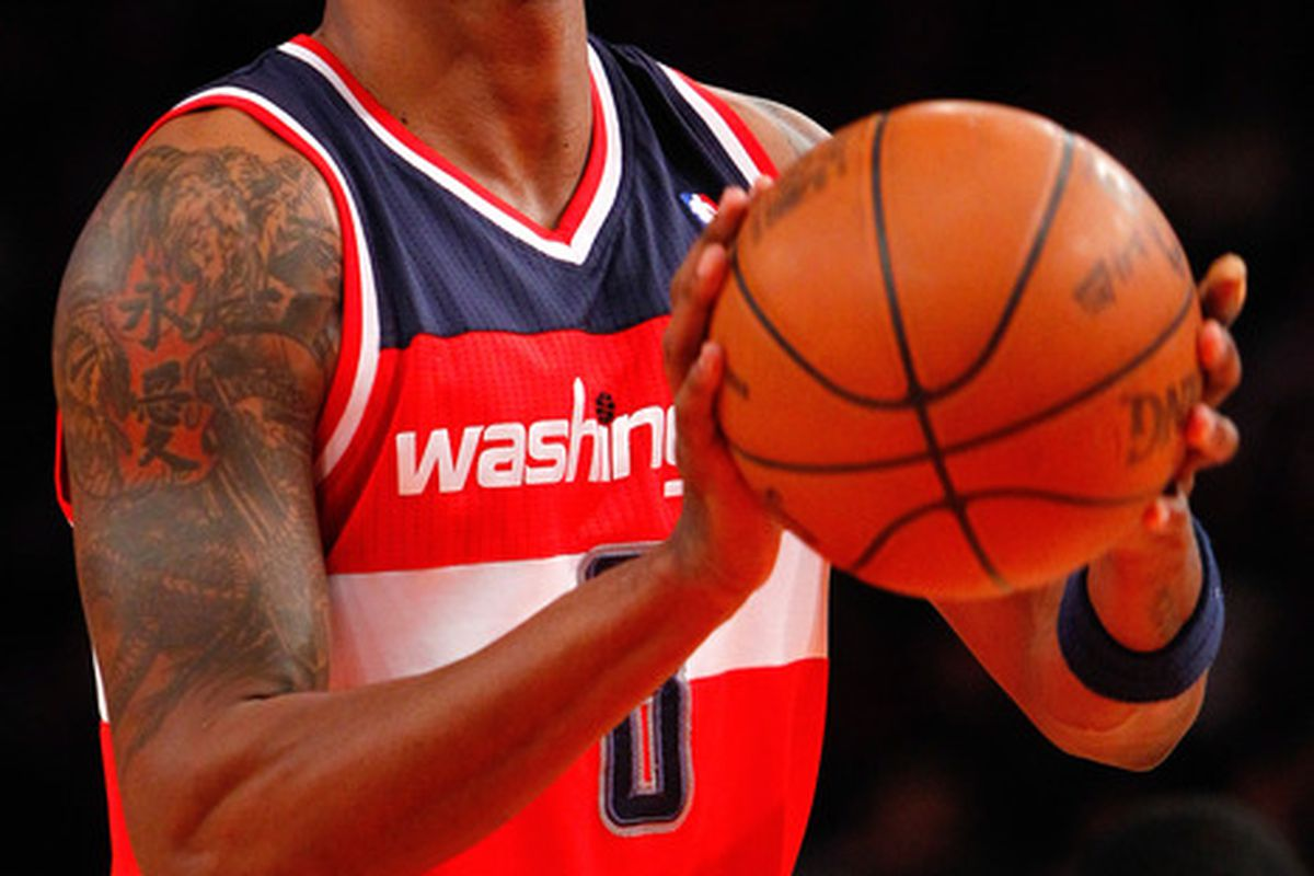 Apr. 13, 2012; New York, NY, USA; Washington Wizards shooting guard Roger Mason (8) shoots a free throw during the first half against the New York Knicks at Madison Square Garden. Mandatory Credit: Debby Wong-US PRESSWIRE