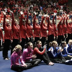 Utah waves to the crowd after being announced as the winners of the NCAA Salt Lake Regional Gymnastics Saturday, April 7, 2012 in Salt Lake City.