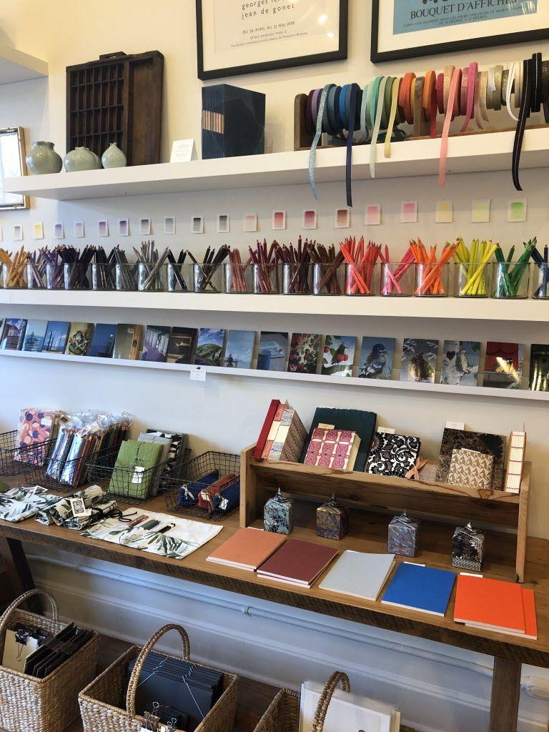 Office supplies, books, colored pencils are on display for purchase inside Bari Zaki Studio. | Ji Suk Yi for the Sun-Times
