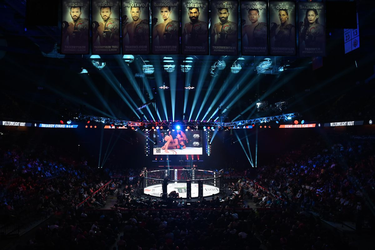 A general view of the Bellator MMA cage during the Bellator 232 on October 26, 2019 at the Mohegan Sun Arena in Uncasville, Connecticut.