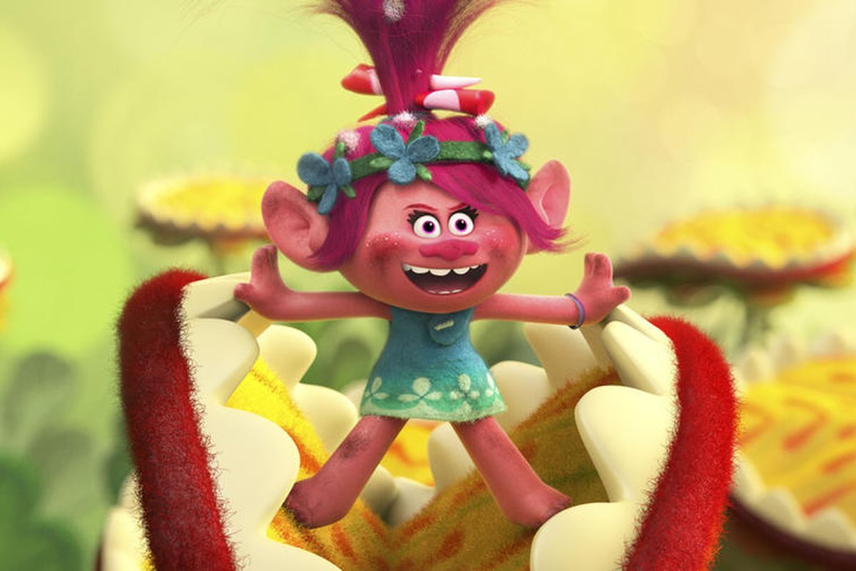 """Troll princess Poppy (voiced by Anna Kendrick) bursts into song in DreamWorks Animation's """"Trolls."""""""