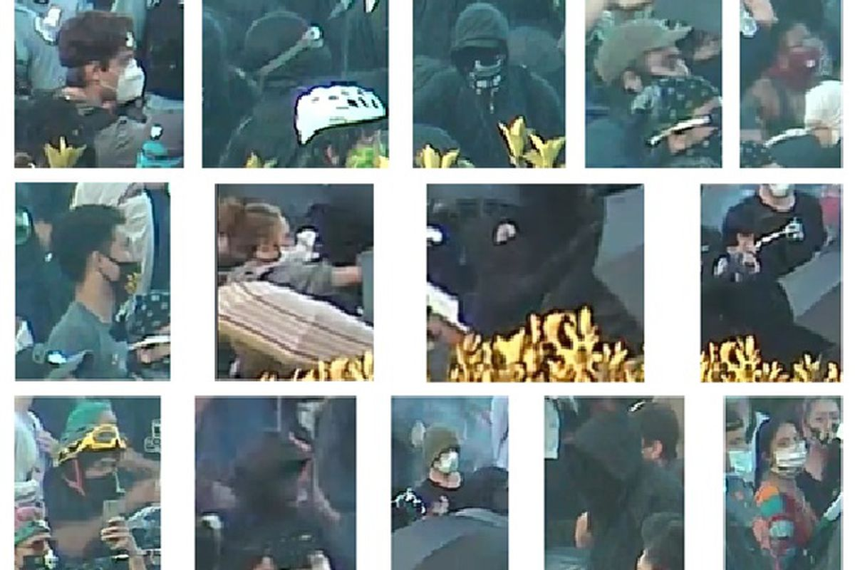 """Police say these people are wanted for """"mob action"""" at a protest at the Christopher Columbus statue in Grant Park."""
