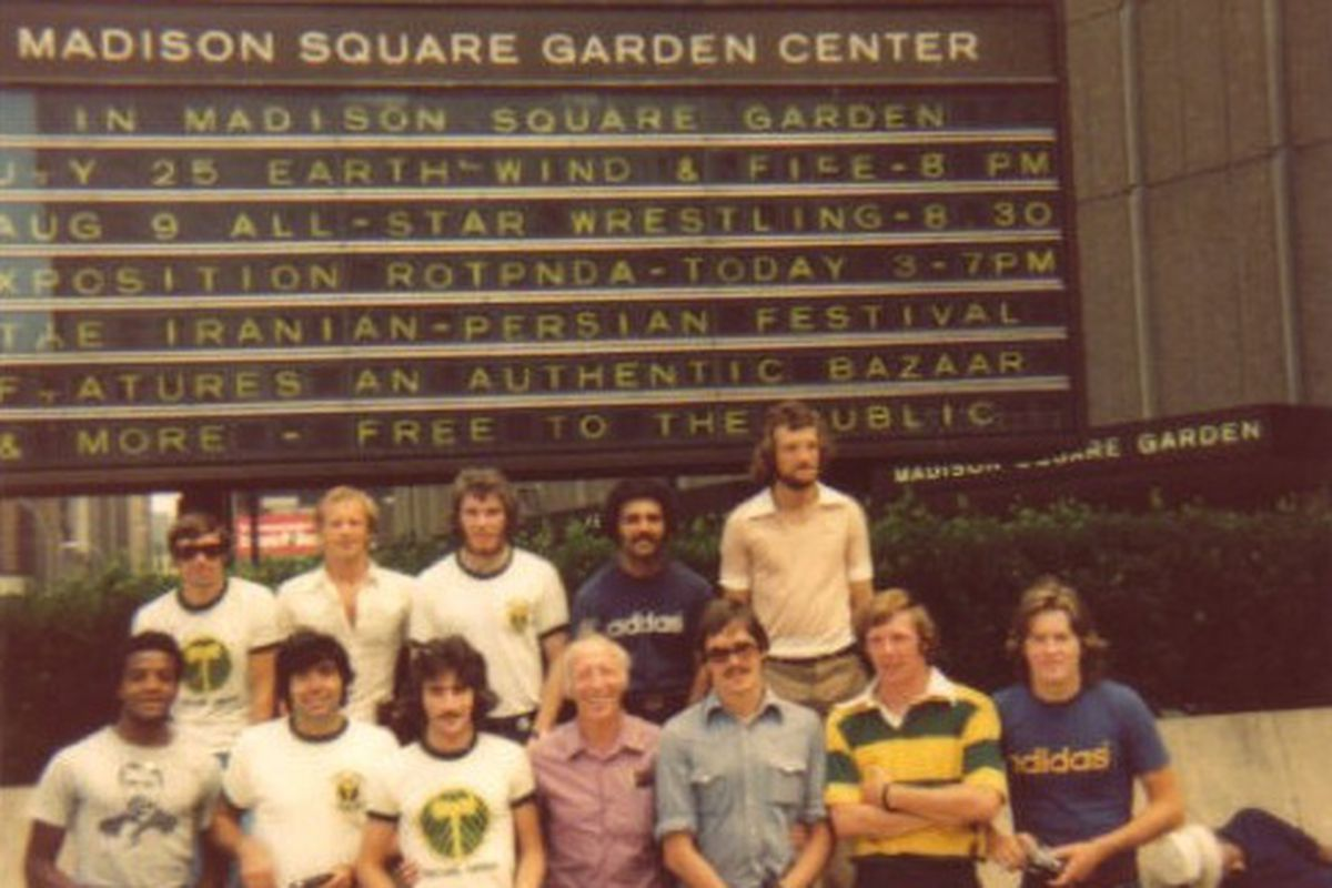 Crowther in the middle with Timbers players in New York City in 1975