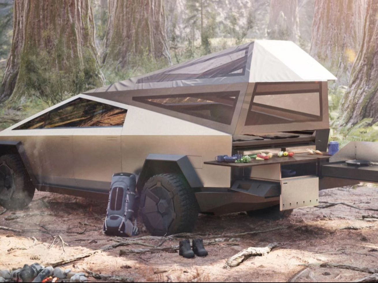 Tesla teases electric truck with pop-up camper mode