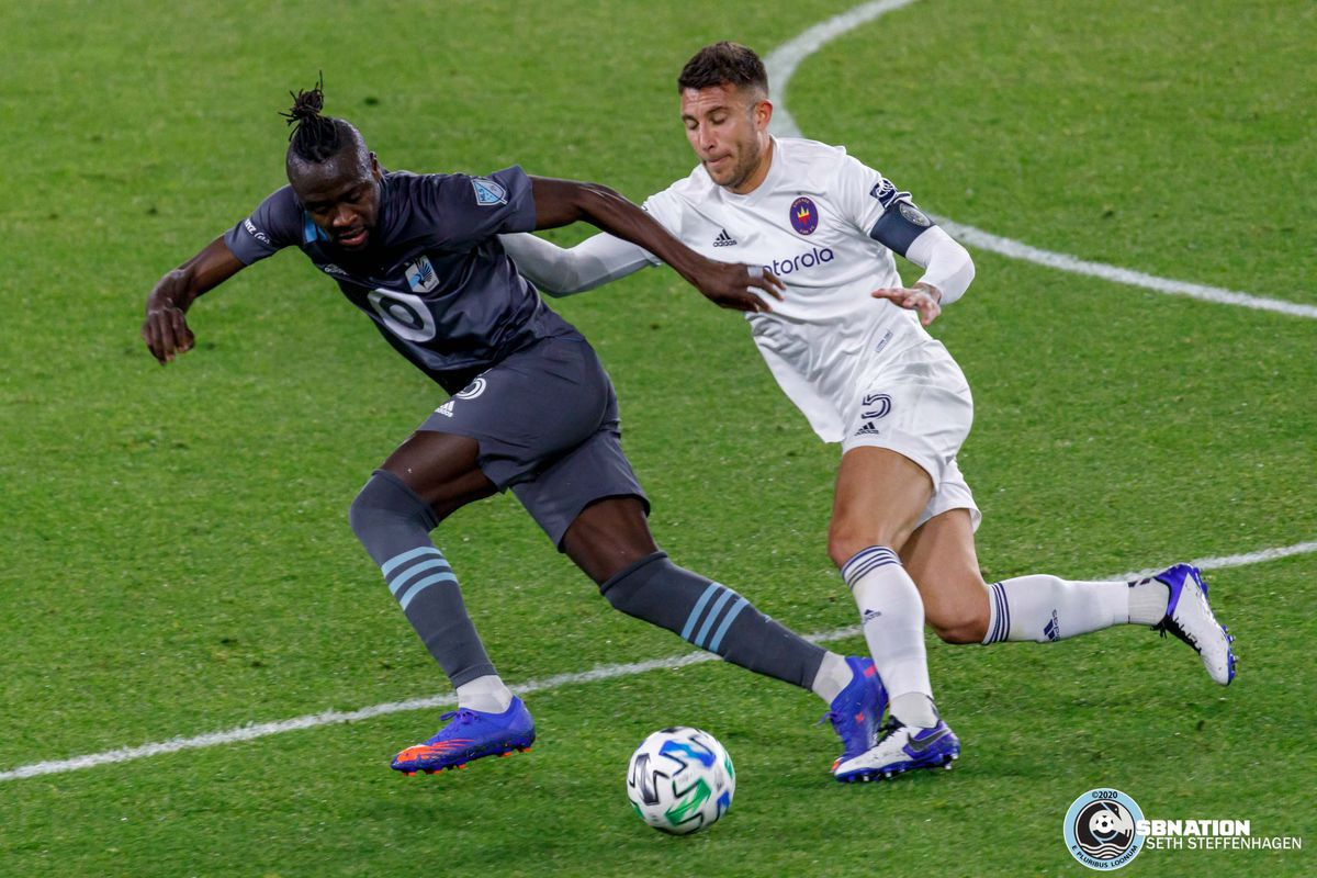 November 4, 2020 - Saint Paul, Minnesota, United States - Minnesota United forward Kei Kamara (16) breaks away from Chicago Fire defender Francisco Calvo (5) during the match at Allianz Field.