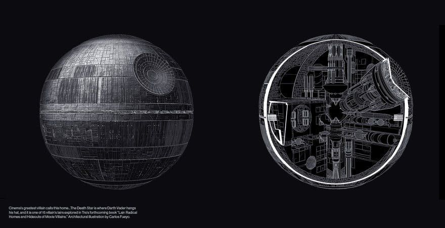Illustration of Death Star in book