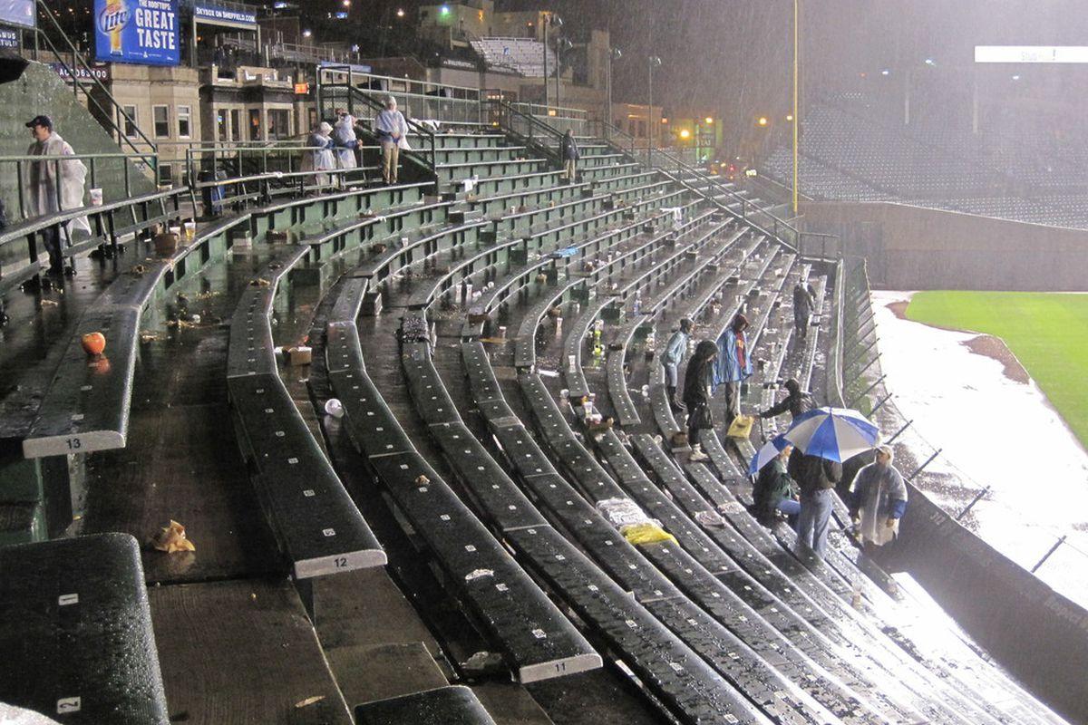 The bleachers during Thursday night's rain delay, about 9:15 pm. <em>(BCB photo by David Sameshima)</em>