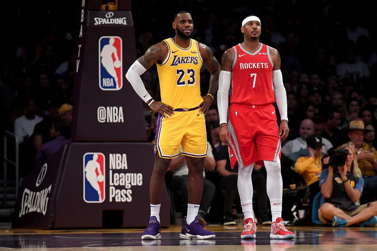 1b7ccb9c2 LeBron James says he would  welcome  Carmelo Anthony joining Lakers