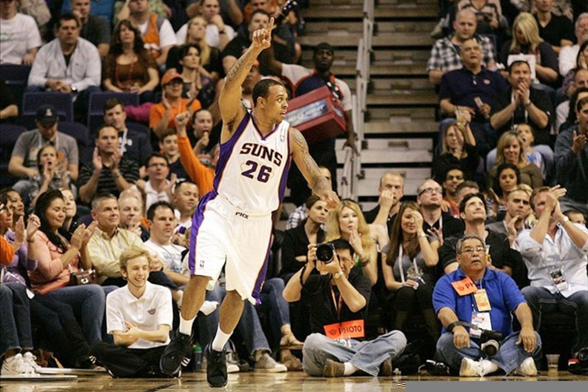 Mar 4, 2012; Phoenix, AZ, USA; Phoenix Suns shooting guard Shannon Brown (26) celebrates after scoring during the first quarter against the Sacramento Kings at US Airways Center.  Mandatory Credit: Jake Roth-US PRESSWIRE