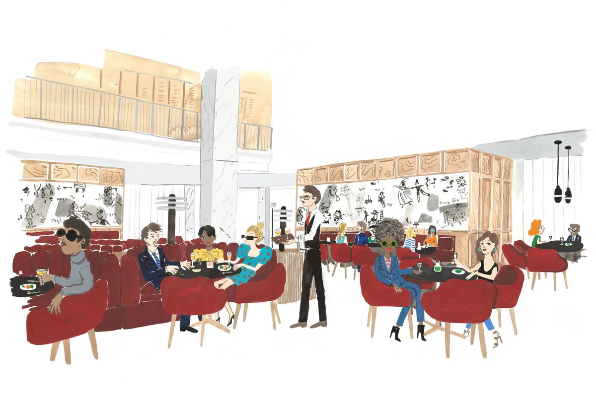 A colorful rendering of a throwback restaurant with servers in suits and plush red seats.